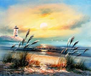 Oil painting 'Landscape with Lighthouse,Sea Gulls and Reeds' printing on Linen Canvas , 18x22 inch / 46x55 cm ,the best Gym decoration and Home decoration and Gifts is this Vivid Art Decorative Prints on Canvas