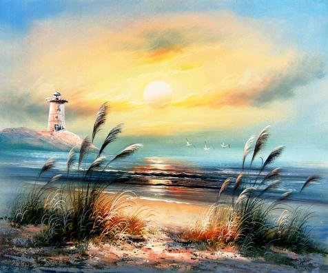 'Landscape With Lighthouse,Sea Gulls And Reeds' Oil Painting, 10x12 Inch / 25x31 Cm ,printed On Polyster Canvas ,this Beautiful Art Decorative Prints On Canvas Is Perfectly Suitalbe For Gym Decoration And Home Decoration And (Buy Cosplay Weapons)