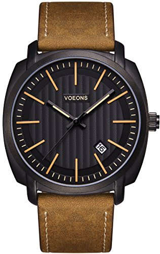 Voeons Men's Analog Auto Date Quartz Watch Genuine Brown Leather Strap Waterproof Casual Watch