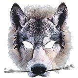 Adults Kids Realistic Fake Fur Wolf Face Mask Pack Animal Jungle Werewolf Book Week Fancy Dress Facemask