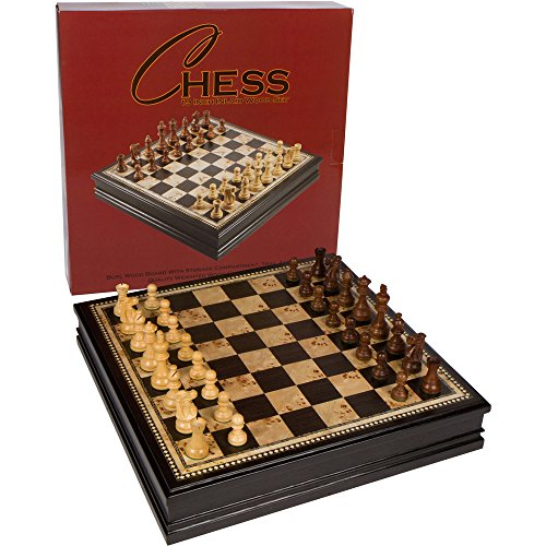 Adrienne Chess Inlaid Burl and Black Wood Board Game with Weighted Wooden Pieces and Tray - Extra Large 19 Inch Set