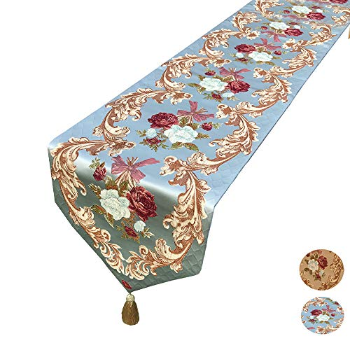 MAGILONA Home Tablecover Decorative Luxurious Cotton Linen Embroidered 3D Floral Pattern Table Runner with Tassel Dining Party 13x83 In (Blue)