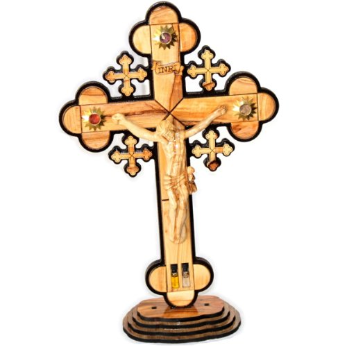 Large Jerusalem Stone (Layered olive wood Cross carved by Laser with Holy Land samples - standing or hanging ( 14 inches or 35 cm ) Large / Certificate)