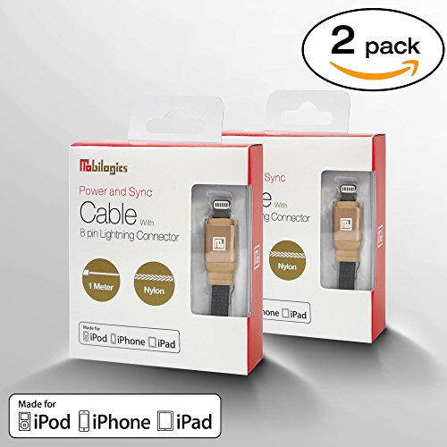 [2 PACK] MFi Certified Industrial Grade Lightning to USB Cable For Fast Charging and Data Syncing - (Gold) by Mobilogics