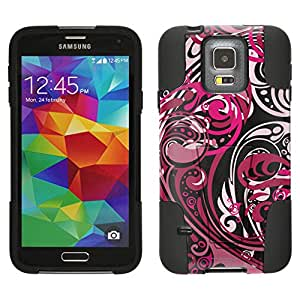 Samsung Galaxy S5 Hybrid Case Abstract Swirled Sades of Pink on Black 2 Piece Style Silicone Case Cover with Stand for Samsung Galaxy S5