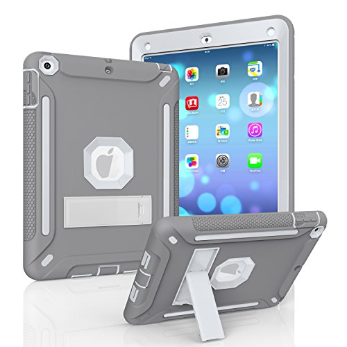MAKEIT CASE New iPad 2017 9.7 inch Case Hybrid Heavy Duty Kickstand Shockproof Protective Case Cover for 2017 Released New iPad 9.7 inch (ST-Gray/Light Grey)