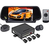 Rearview Backup Camera System (Rear View Mirror with Built-in Display, Color Camera and Sensors) HK-777P