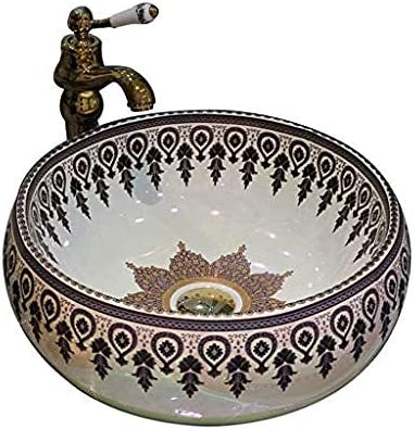 ラウンド洗面台レトロセラミックホテルアンチスプラッシュ洗面バスルームのシンク