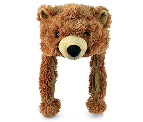 Puzzled Grizzly Bear Super-Soft Stuffed Plush Hat Cuddly Animal Toy (Hat Bear)