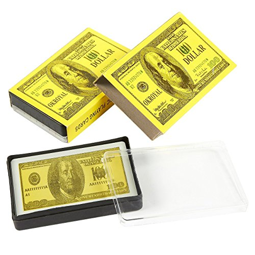 2-Pack Card Decks - Money Playing Cards, Cool 100 Dollar Bill Style Novelty Poker Cards Pack, With 2 Cases, Yellow - 2.2 x 3.5 Inches