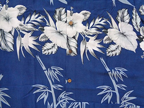 771ad351 Alvish Hawaiian Shirt 35 Mens Bamboo Tree Print Beach Aloha Party Holiday  Blue XL