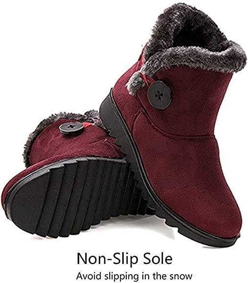 Goldweather Mens Winter Warm Snow Boots Plush Fur Lined Outdoor Waterproof Slip On Ankle Boots