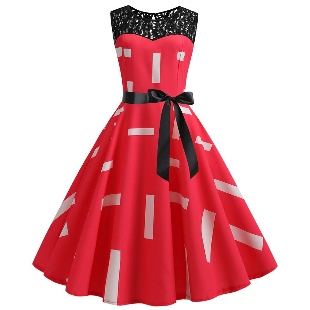 Women Vintage Retro Sleeveless Lace Splice Printing Party Prom Swing Dress Red
