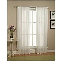 """Cortinas /Paneles /Tratamiento WPM Cortinas Elegance con ventana transparente hermosa, 60 """"x 84"""", Blanco"""