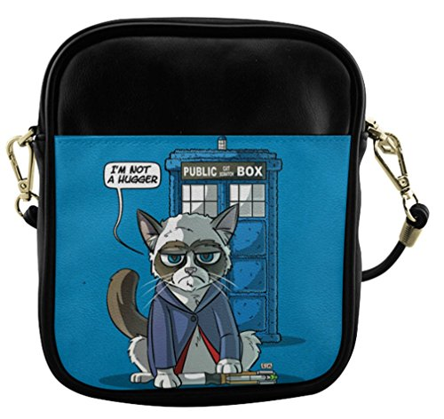 Ladies Leather Sling Bag Crossbody Bags Shoulder Bags With Grumpy Cat Doctor Who Pattern