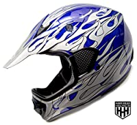 HHH DOT Youth & Kids Helmet for Dirtbike ATV Motocross MX Offroad Motorcyle Street bike Black/Blue, Blue Flame + WITH FREE GLOVES AND GOOGLES (Large, Blue Flame) from Hard Head Helmet