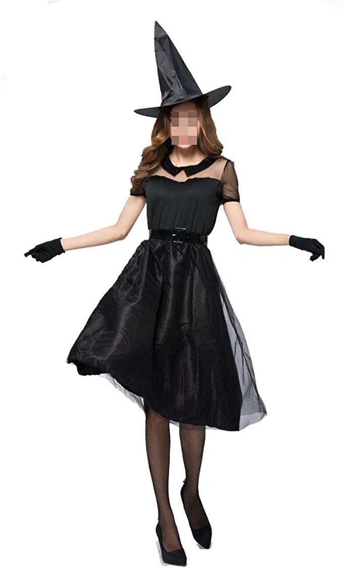 KODH Nueva falda larga de gasa negra de Halloween Fiesta de ...