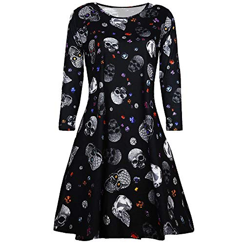 (Clearance!Connia Halloween Women Swing Dress Winter Fashion Vintage Vampire Horror Blood Printed Party Club Costume (XL,)