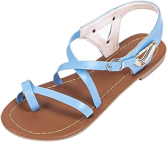KItipeng Chaussures Femme Ete en Soldes — Sandales Plates Soirée Casual Peep Toe Femmes Plat Boucle Chaussures Sandales Roman Pas Cher Chaussures de
