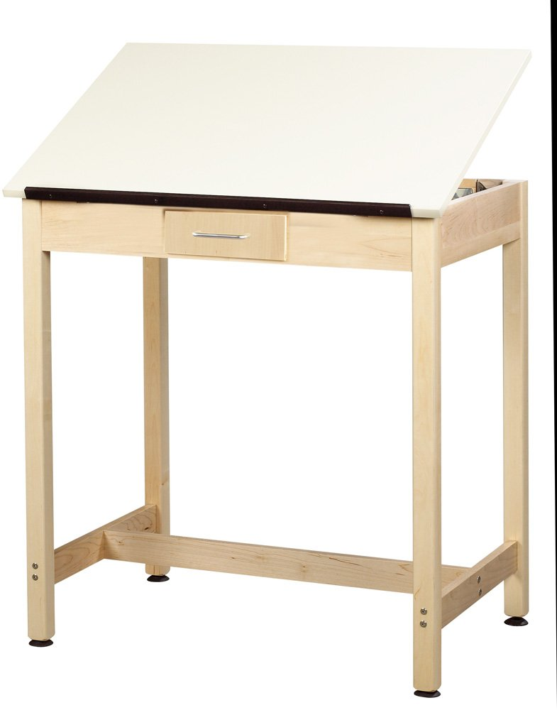 Diversified Woodcrafts DT-3A37 UV Finish Solid Maple Wood Art-Drafting Table with 1 Piece Top and Center Drawer