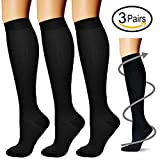 #7: Compression Socks (3 Pairs) 15-20 mmhg is BEST Athletic & Medical for Men & Women, Running, Flight, Travel, Nurses,Edema