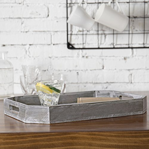 MyGift Country Rustic Wood Serving Tray with Cutout Handles and Angled Edges by MyGift (Image #2)