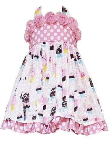 Rare Editions Little Girls' Dot And Cupcake Print Birthday Dress, Pink, 3T - Pink Cupcake Print