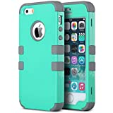 SE Case,iPhone 5S Case,ULAK Anti Slip iPhone 5 SE Case Dust Scratch Shock Resistance Protective Cover for Apple iPhone SE 5S 5 with Hybrid High Soft Silicone + Hard PC Case (Light Green+Grey)