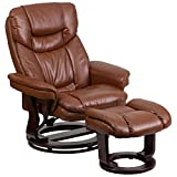 Flash Furniture Contemporary Multi-Position Recliner and Curved Ottoman with Swivel Mahogany Wood Base in Brown Vintage Leather
