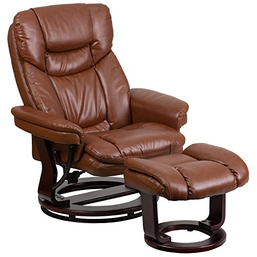 (Flash Furniture Contemporary Brown Vintage Leather Recliner and Ottoman with Swiveling Mahogany Wood Base)