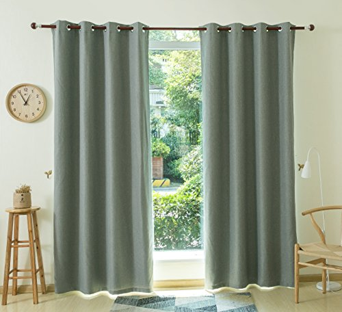Allbright Faux Linen Blackout Curtain Drapes with Waterproof Coating Back Layer for Dining Room 52x 84 Inch Smoky Gray,1 Panel