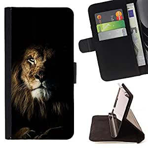 BullDog Case - FOR/Sony Xperia m55w Z3 Compact Mini / - / lion black nature mane roar king cat /- Monedero de cuero de la PU Llevar cubierta de la caja con el ID Credit Card Slots Flip funda de cuer