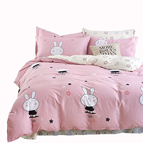 Mumgo Home Collection Bedding Sets for Kids Girl Lovely Rabbit 100% Cotton Duvet Cover Set Twin Full Queen King 4 Piece(Not Include Comforter) (King Size) by Mumgo