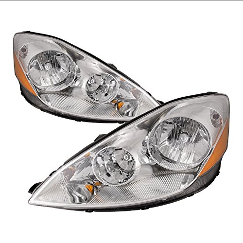 HEADLIGHTSDEPOT Chrome Housing Halogen Headlight Compatible with Toyota Sienna 2006-2010 Includes Left Driver and Right Passenger Side Headlamps
