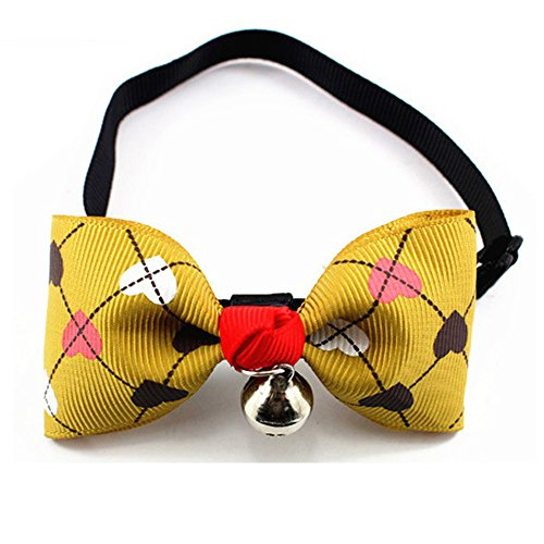 Small Pet Dog Cat Bow Tie Collar with Bowtie with Bell Pet Accessories Adjustable from 7