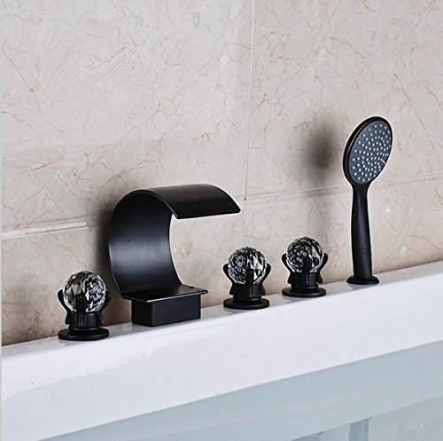 GOWE Oil Rubbed Bronze Waterfall Spout Bath Tub Sink Faucet Deck Mounted Widespread 5 Holes Bathtub Mixers color: style 2 0