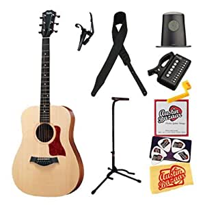 Taylor BBT Big Baby Taylor Dreadnought Acoustic Guitar Bundle with Tuner, Capo, Humidifier, Stand, Leather Strap, Strings, String Winder, Pick Card, and Polishing Cloth