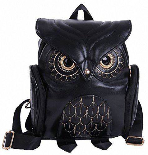 Eaglebeky Girl's Pu Leather Owl Cartoon Backpack Fashion Casual Mini Purse Bag (Black)