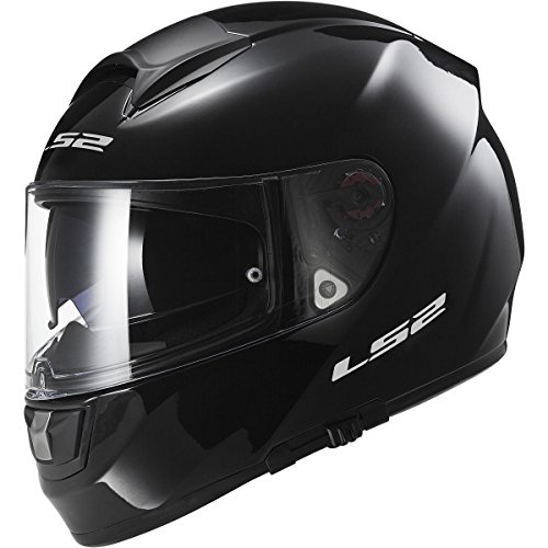 LS2 Helmets Citation Solid Full Face Motorcycle Helmet with Sunshield (Gloss Black, XX-Large)