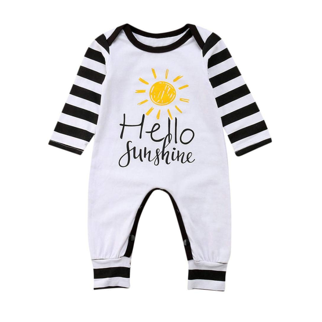 wuayi Baby Boy Girl Letter Print Stripe Long Sleeve Romper Jumpsuit Newborn Clothes