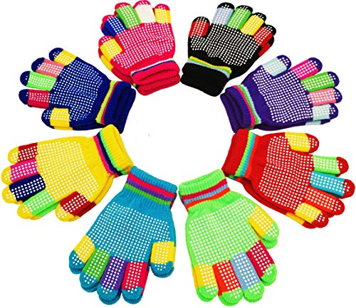 Children Warm Magic Gloves 8 Pairs, Kids Full Finger Knitted Stretchy Anti-slip Winter Glove for Boys and Girls (7 to 16 Years) (B. 7 to 16 Years (Anti-Skid))