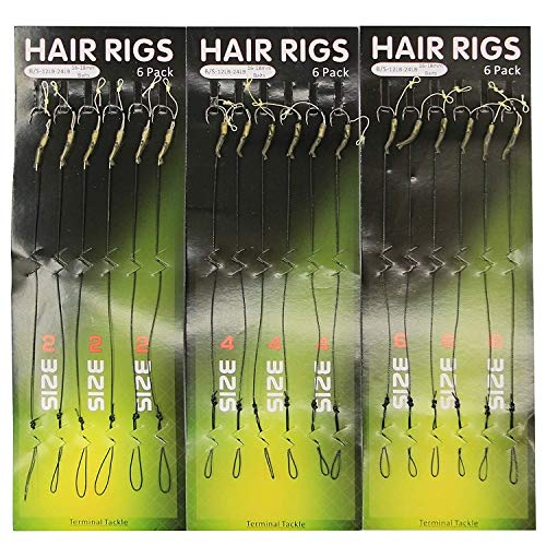 SILANON Fishing Leader Rigging Carp Rigs - 18PCS Carp Fishing Terminal Hair Rigs Coated Line Strength 12lb-24lb Wide Gape Hook Anti-Tangle Rig Sleeves Lure Connector Size 2 4 6 (Best Carp Rigs For Summer)