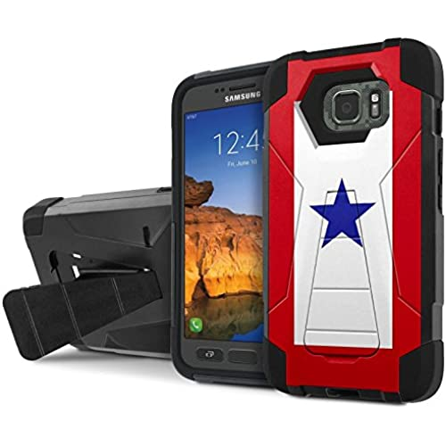 AT&T [Galaxy S7 Active] Combat Case [SlickCandy] [Black/Black] Armor Shell & Impact Resistant [Kick Stand] [Shock Proof] Phone Case - [Service Mother Blue Star] Sales