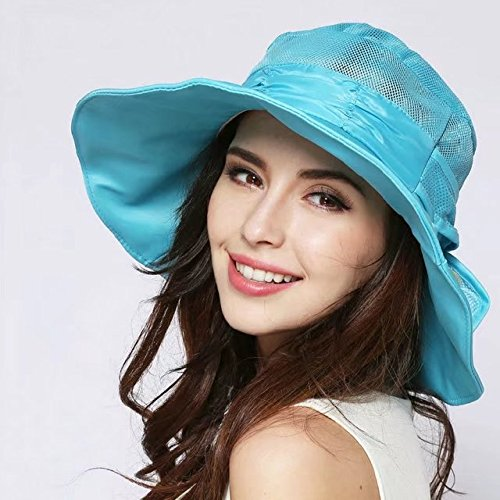 Vrcoco Wide Brim Bucket Boonie Sun Hat Summer Ladies Sunscreen Beach Hat Anti-ultraviolet Sun Hat Face Neck Cover Mask Cap UPF50+ Mosquito Foldable Sun Cap(1pc,Blue) (Bug Screen Cart Golf)