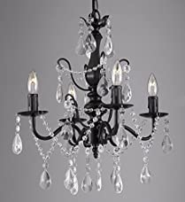 """Wrought Iron and Crystal 4 Light Black Chandelier H 14"""" X W 15"""" Pendant Fixture Lighting Ceiling Lamp Hardwire and Plug In"""