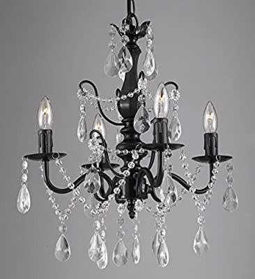 "Wrought Iron and Crystal 4 Light Black Chandelier H 14"" X W 15"" Pendant Fixture Lighting Ceiling Lamp Hardwire and Plug In"