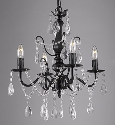 Black Four Light Chandelier (Wrought Iron and Crystal 4 Light Black Chandelier H 14