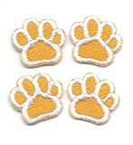 5/8'' inch Yellow Buff Gold White Dog Animal Paw Print Embroidery Patch Lot of 4