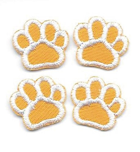 5/8'' inch Yellow Buff Gold White Dog Animal Paw Print Embroidery Patch Lot of 4 by ika_kev