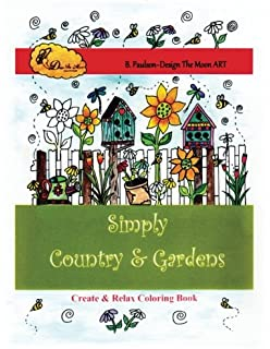 Adult Simply Country Gardens Coloring Book Folk Art Designs